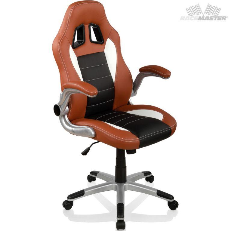 Otočná kancelářská židle GT-Racer - hnědá/černá/bílá