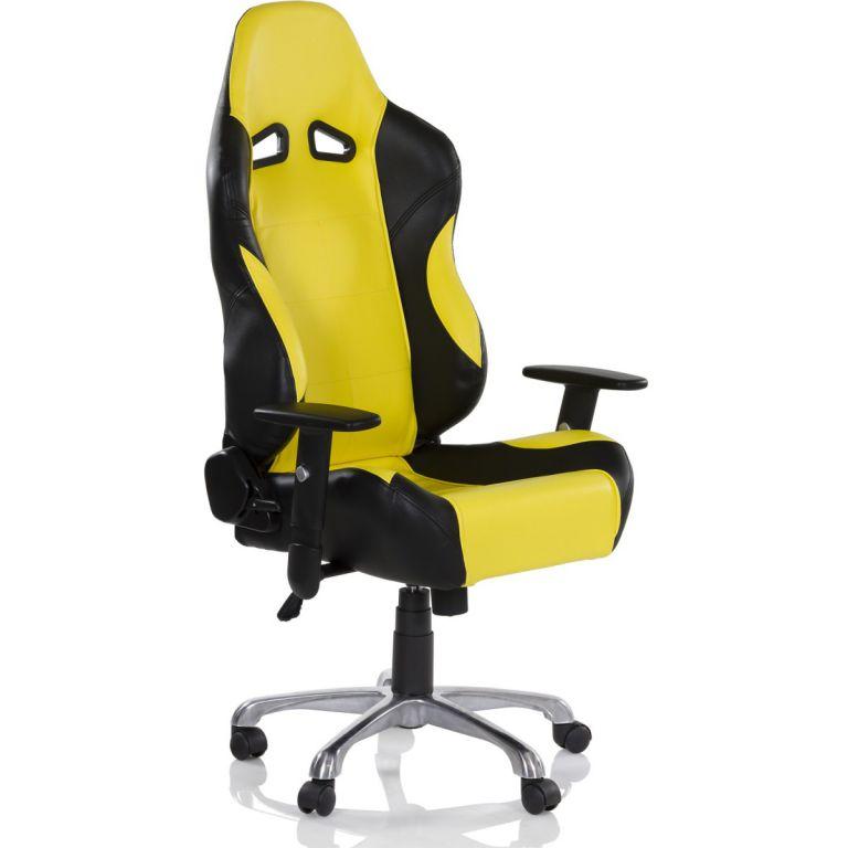 Kancelářská otočná židle RS RACER SEAT, černá/žlutá