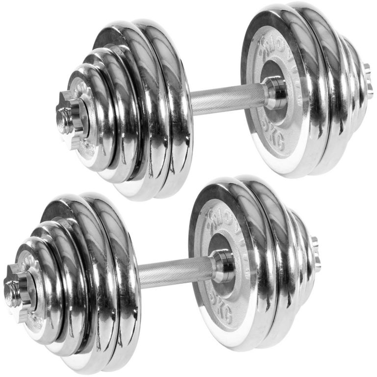Set jednoručních chromovaných činek MOVIT 30 kg