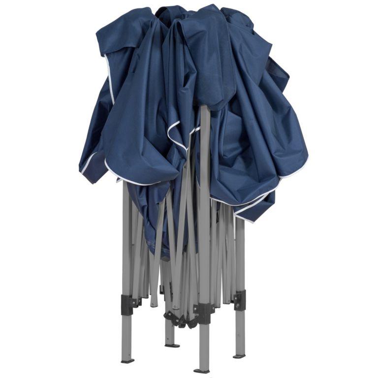 Zahradní párty stan nůžkový 3x3 m + 4 boční stěny - modrá