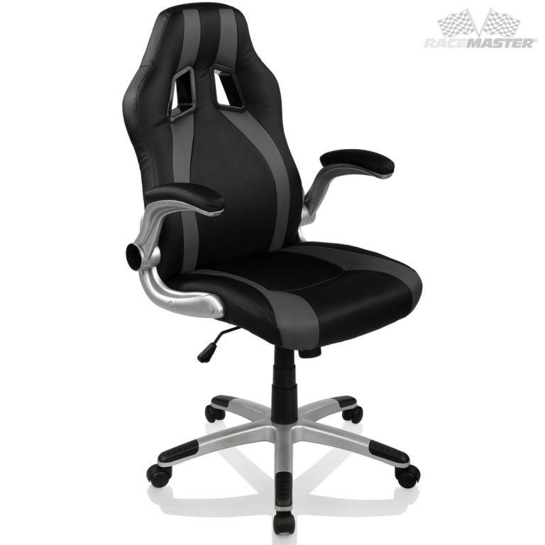 Kancelářská židle GT-Racer Stripes - černá/šedá
