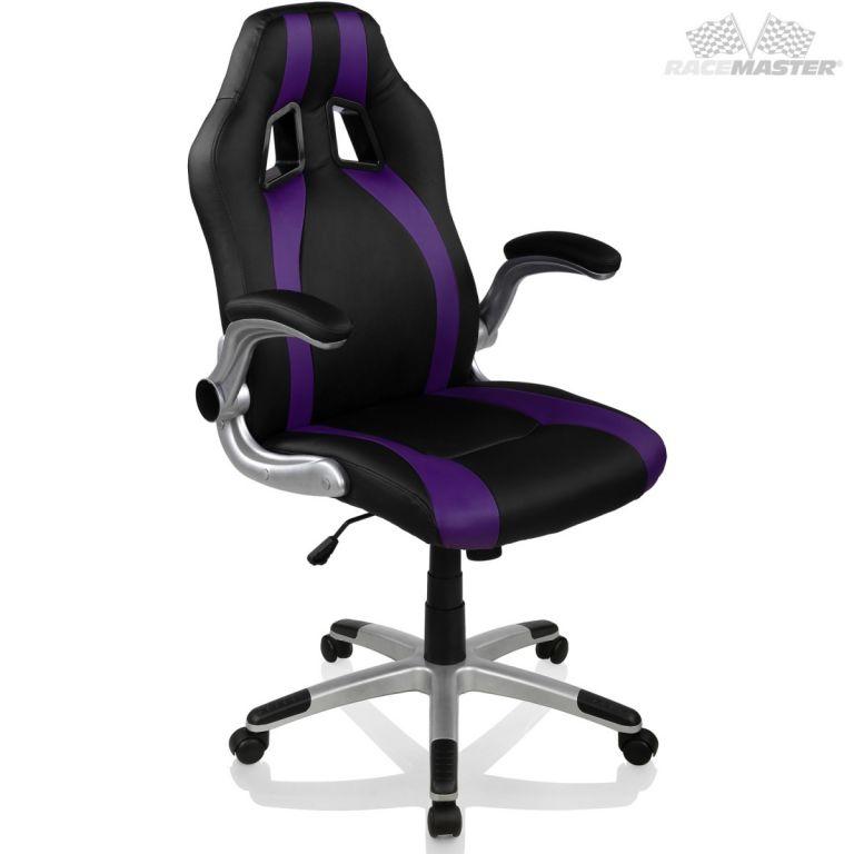 Kancelářská židle GT-Racer Stripes - černá/fialová