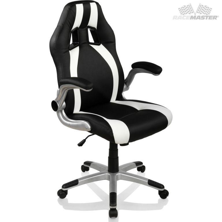 Kancelářská židle GT-Racer Stripes - černá/bílá