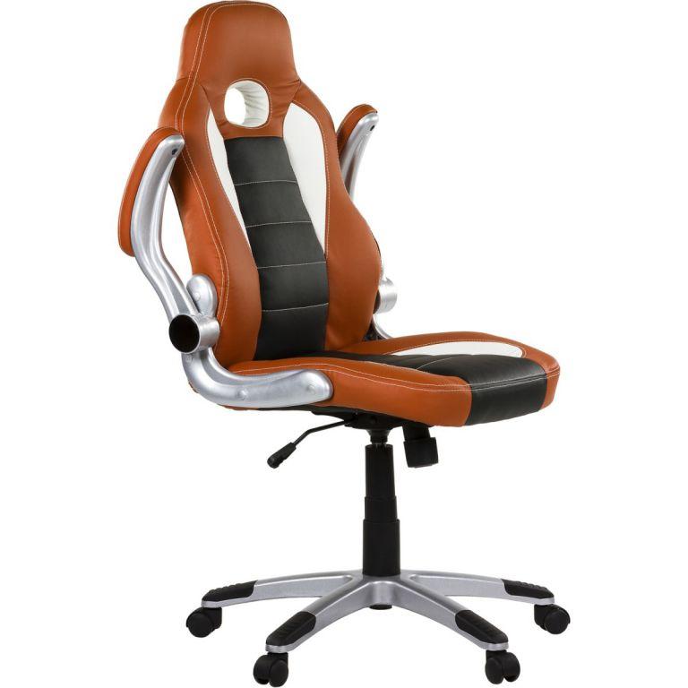 Kancelářská židle GT-Racer hnědá/černá/bílá