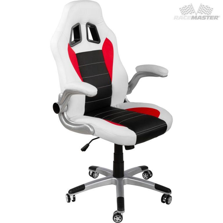 Kancelářská židle GT-Racer bílá/černá/červená + tuningová sada
