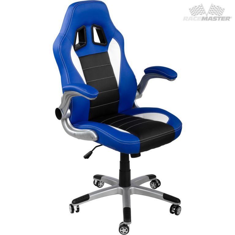 Kancelářská židle GT-Racer modrá/černá/bílá + tuningová sada