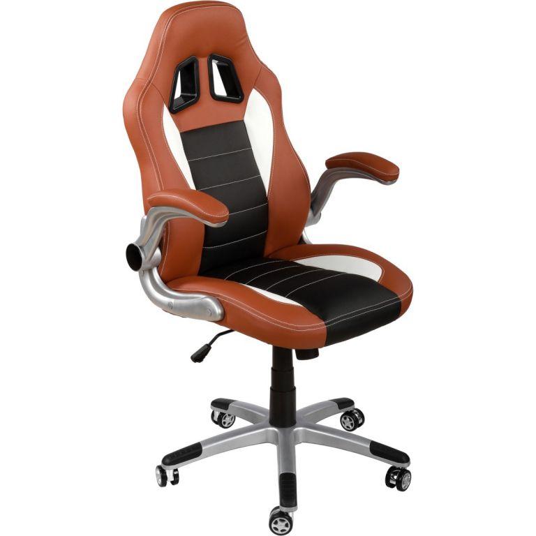 Kancelářská židle GT-Racer hnědá/černá/bílá + tuningová sada