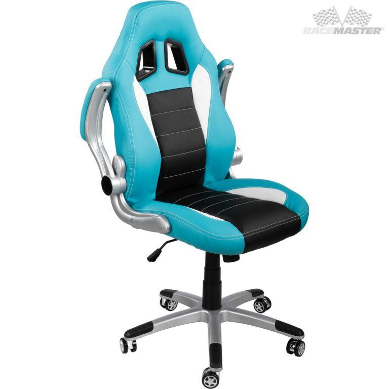 Kancelářská židle GT-Racer tyrkysová/černá/bílá + tuningová sada