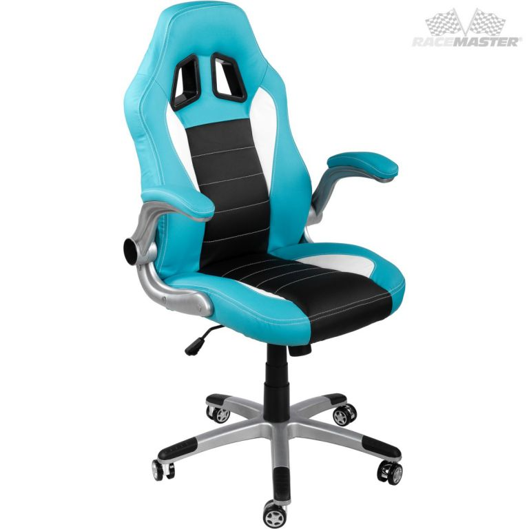Kancelářská židle GT-Series tyrkysová/černá/bílá + tuningová sada