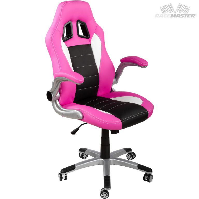 Kancelářská židle GT-Racer růžová/černá/bílá + tuningová sada