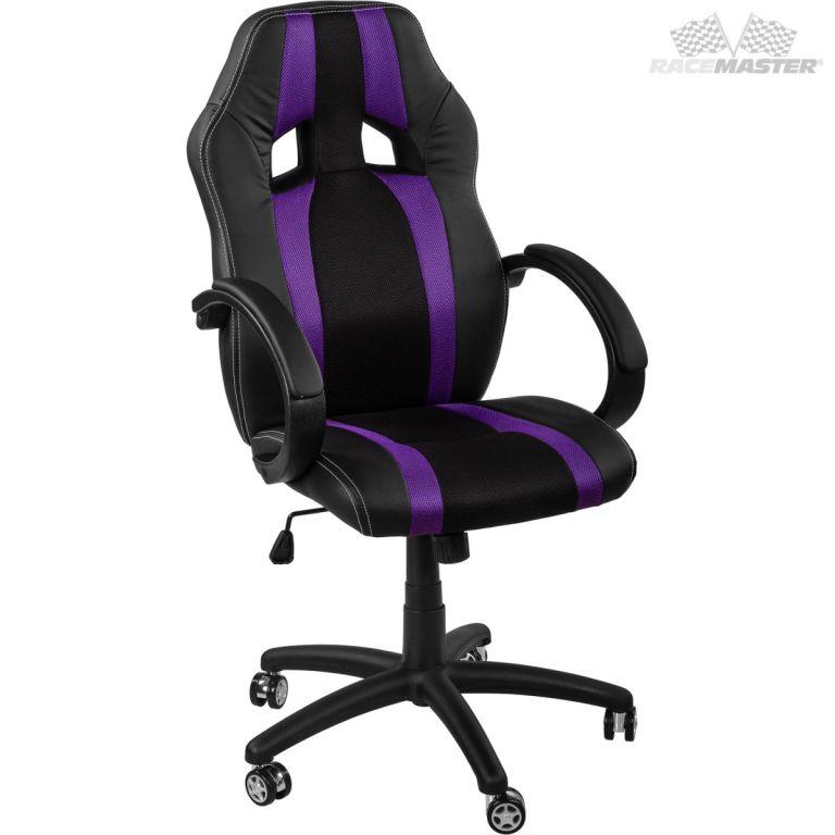 Kancelářská židle GS Series Stripes černá/fialová + uni kolečka
