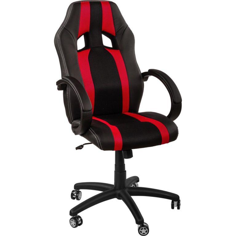 Kancelářská židle MX-Racer Stripes černá/červená + uni kolečka