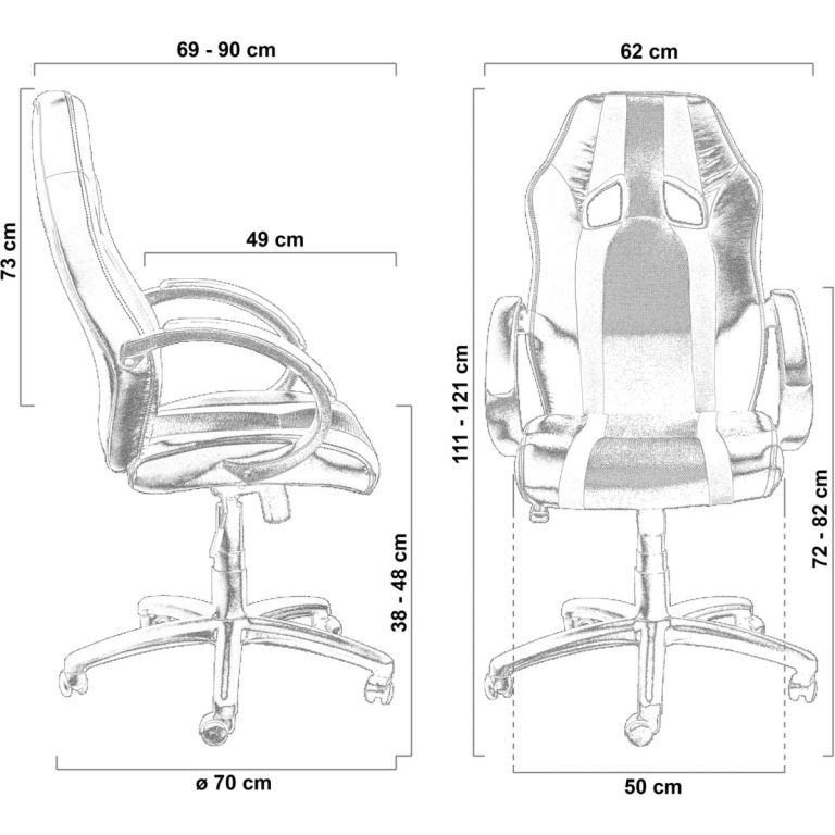 Kancelářská židle MX-Racer Stripes černá/oranžová + uni kolečka