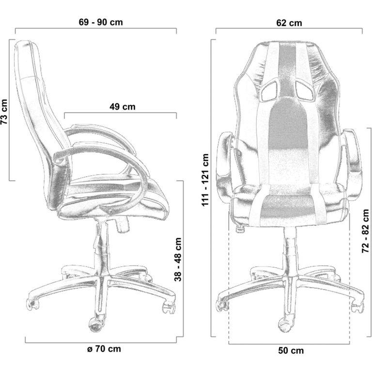 Kancelářská židle MX-Racer Stripes černá/žlutá + uni kolečka