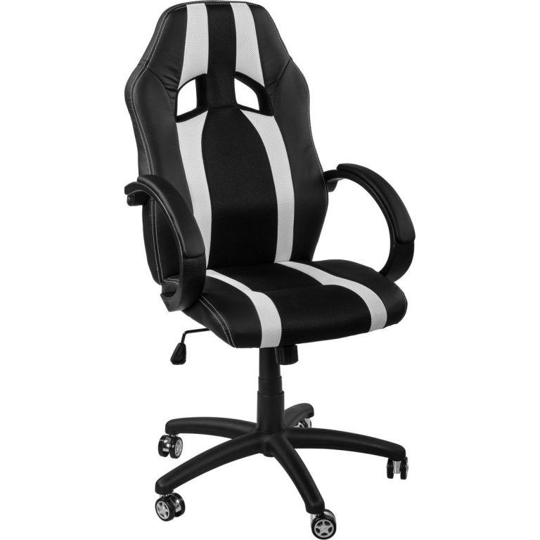 Kancelářská židle MX-Racer Stripes  černá/bílá + uni kolečka
