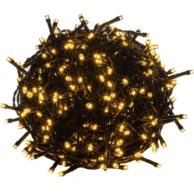 Vánoční LED osvětlení - 20 m,200 LED,teple bílé,zelený kabel