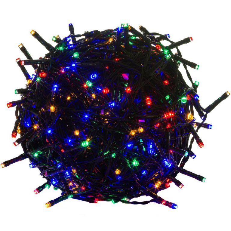 Vánoční LED osvětlení - 40 m, 400 LED, barevné, zelený kabel