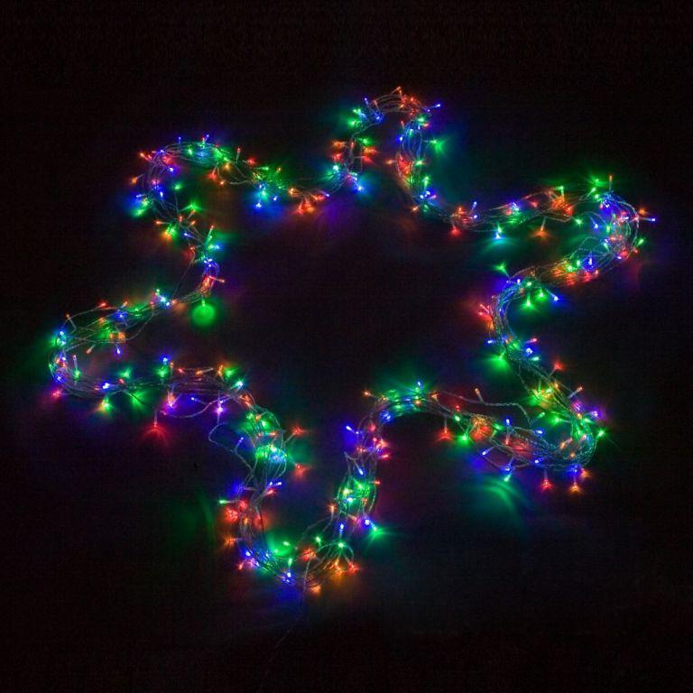 Vánoční LED osvětlení 60 m - barevné 600 LED - zelený kabel