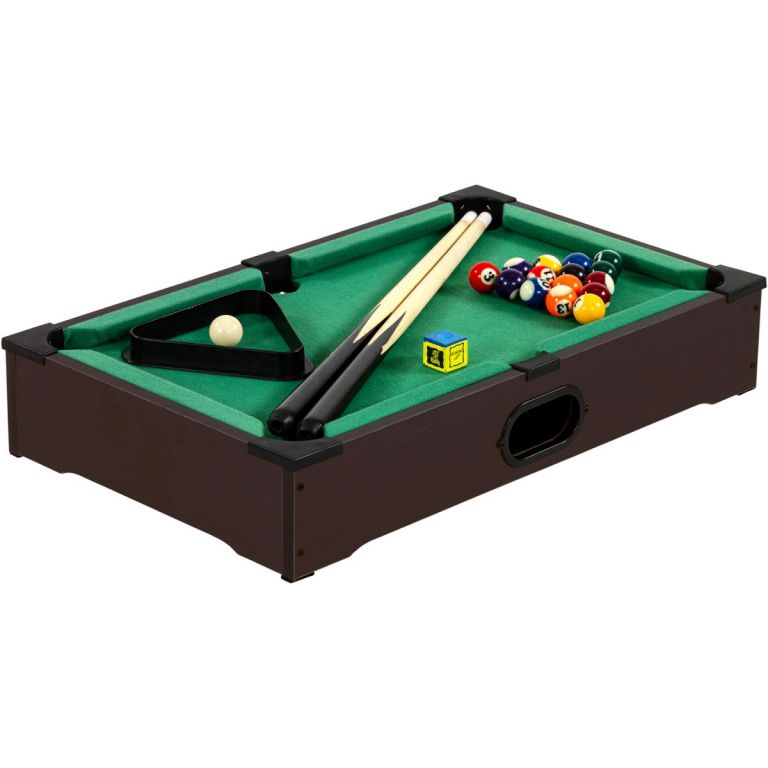 Mini kulečník pool s příslušenstvím 51 x 31 x 10 cm - tmavý