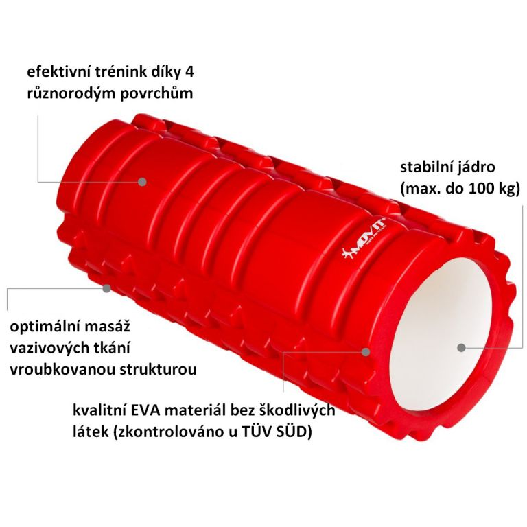 Posilovací masážní válec - FITNESS ROLLER MOVIT červená