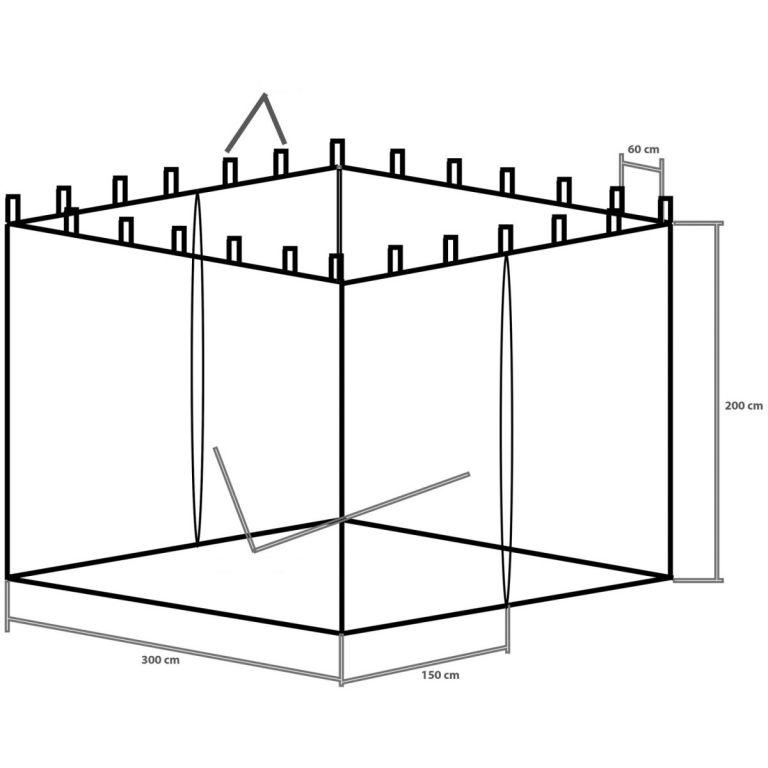 Moskytiéra pro zahradní párty stany 3 x 3 - bílá