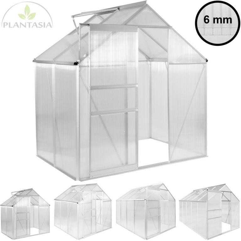 Zahradní hliníkový skleník PLANTASIA 3,94 m³, tloušťka 6 mm
