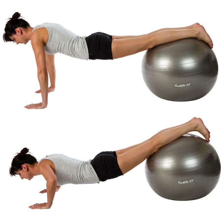 Gymnastický míč MOVIT s pumpou - 85 cm - stříbrný