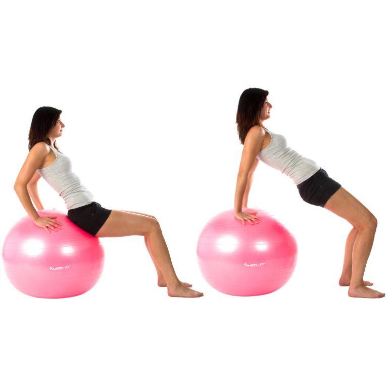 Gymnastický míč MOVIT s pumpou - 65 cm - růžová