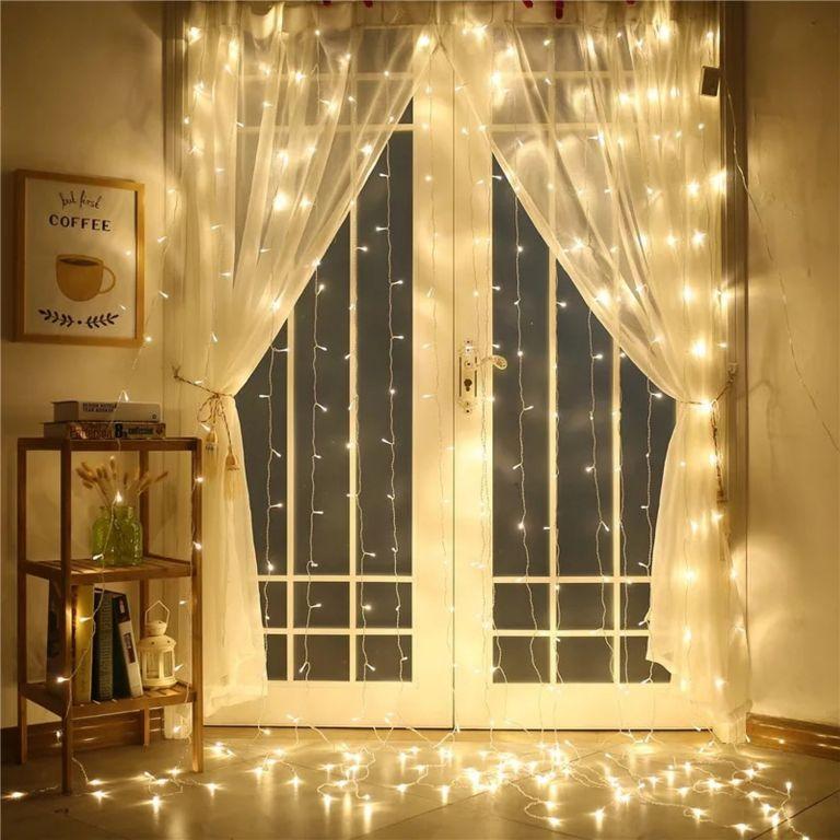 Vánoční osvětlení - světelný závěs - 3x3 m teple bílá 300 LED