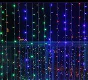Vánoční osvětlení - světelný závěs - 3x3 m barevná 300 LED