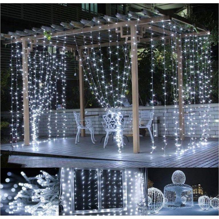 Vánoční osvětlení – světelný závěs – 3×3 m studená bílá 300 LED