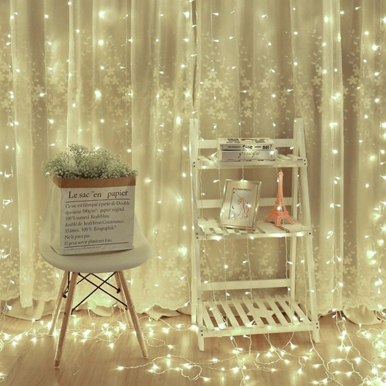 Vianočný svetelný záves - 3 x 3 m, 300 LED, studeno biely