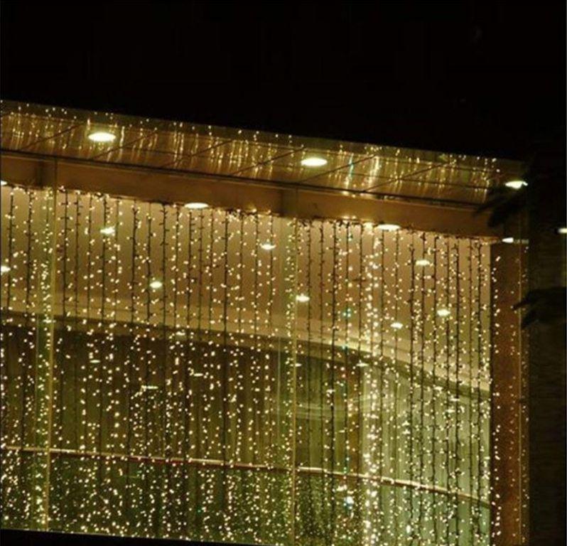 Vánoční osvětlení – světelný závěs – 3×6 m teple bílá 600 LED
