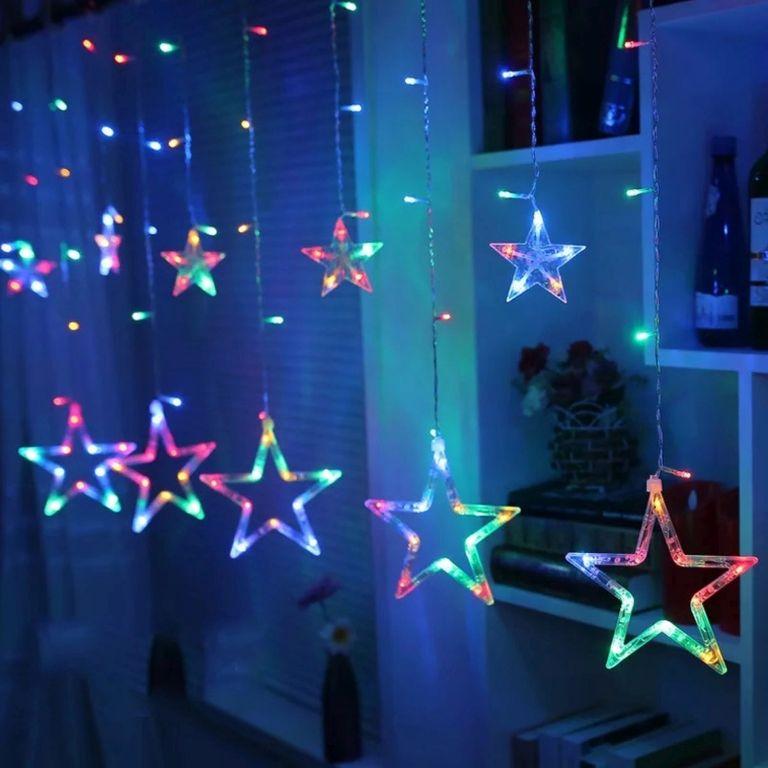 Vánoční dekorace - svítící hvězdy - 150 LED barevná
