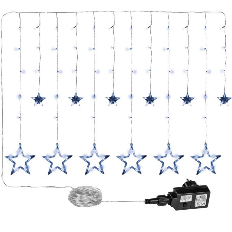 Vánoční dekorace - svítící hvězdy - 150 LED studená bílá