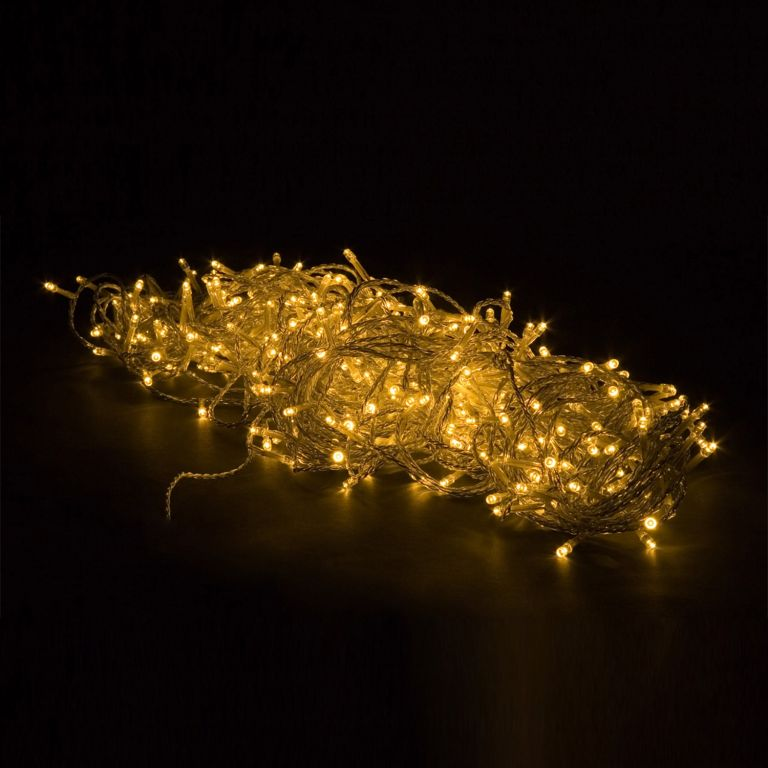 Vánoční LED osvětlení 10 m - teple bílá 100 LED + ovladač BATERIE