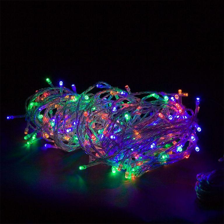 Vánoční LED osvětlení 10 m - barevné 100 LED + ovladač BATERIE