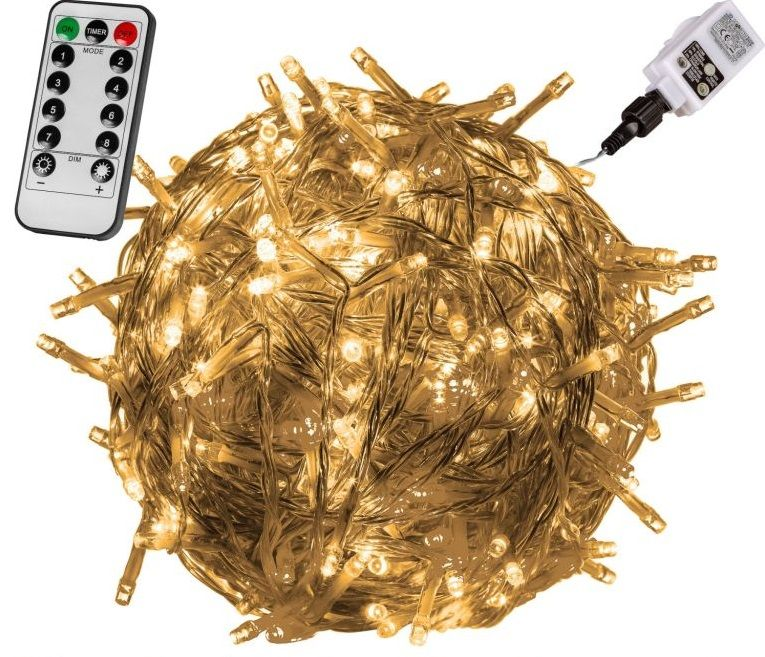 Vánoční LED osvětlení - 20 m, 200 LED, teple bílé + ovladač