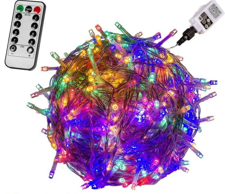 Vánoční LED osvětlení - 20 m, 200 LED, barevné + ovladač