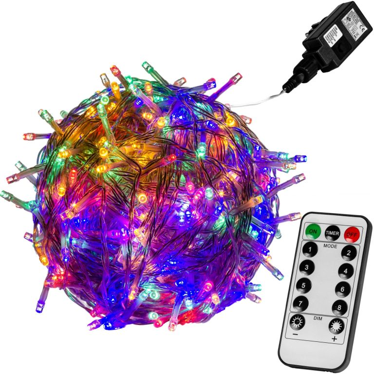 Vánoční LED osvětlení 10 m – barevná 100 LED + ovladač