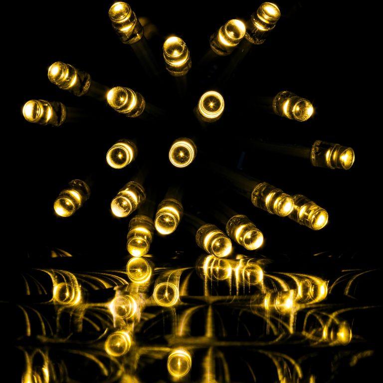 Vánoční LED osvětlení 10 m - teple bílá 100 LED + ovladač - zelený kabel