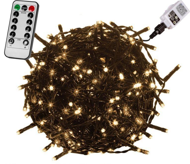 Vánoční osvětlení 20 m,200 LED,teple bílé,zel.kabel,ovladač