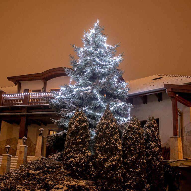 Vánoční osvětlení 60 m,600 LED,stud.bílé, zel.kabel,ovladač