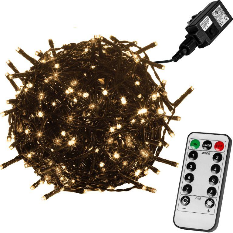 Vánoční LED osvětlení 5 m - teple bílá 50 LED + ovladač - zelený kabel VOLTRONIC® M59754