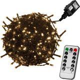 Vánoční LED osvětlení 5 m - teple bílá 50 LED + ovladač - zelený kabel