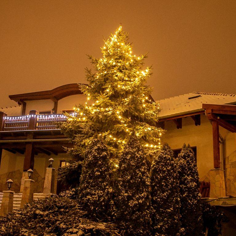 Vánoční osvětlení 5 m, 50 LED, teple bílé, zel.kabel,ovladač