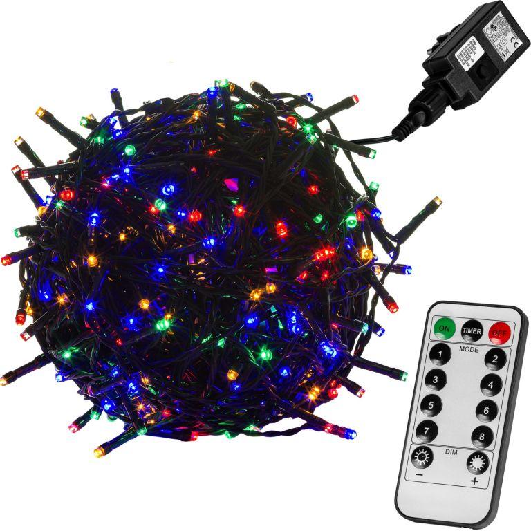 Vánoční LED osvětlení 5 m - barevná 50 LED + ovladač - zelený kabel