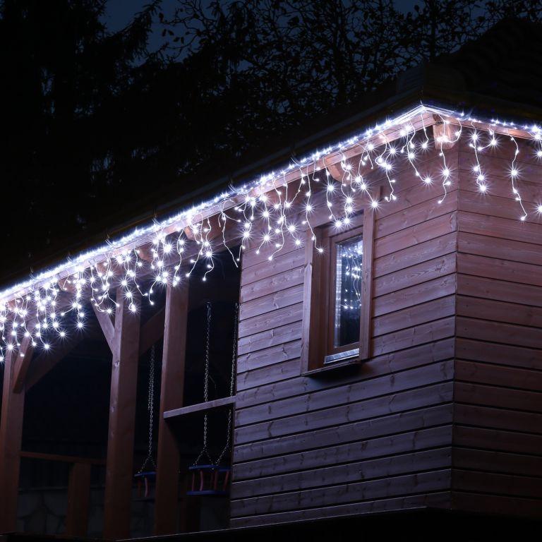 Vánoční světelný déšť - 5 m, 200 LED, studeně bílý + ovladač