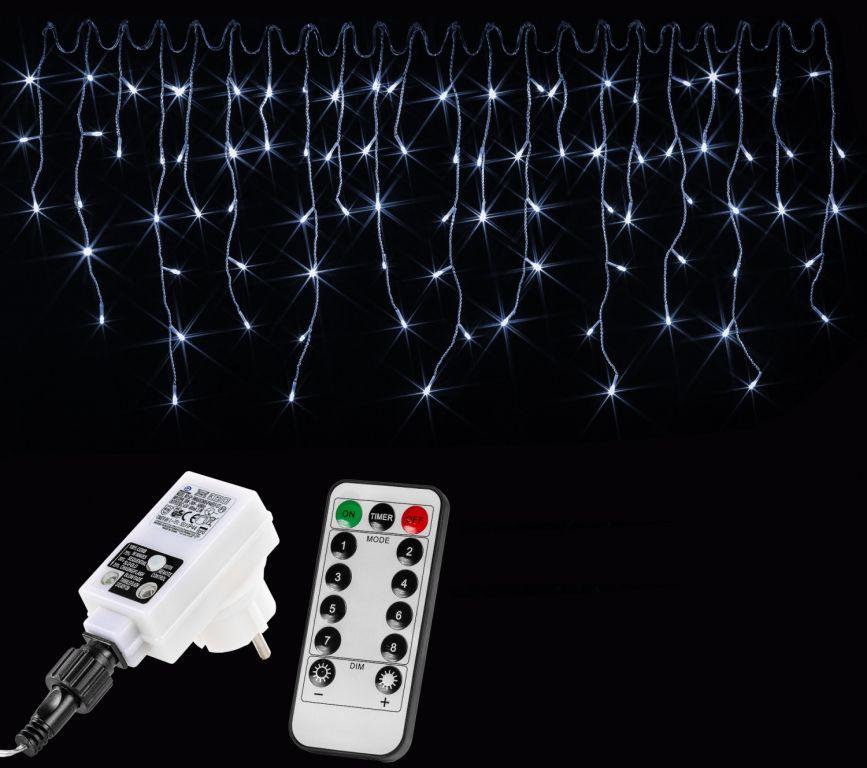 Vánoční světelný déšť - 10 m, 400 LED, studeně bílý +ovladač