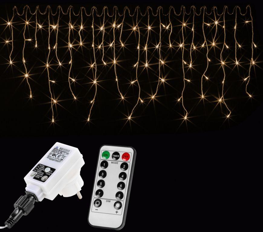Vánoční světelný déšť - 15 m, 600 LED, teple bílý + ovladač